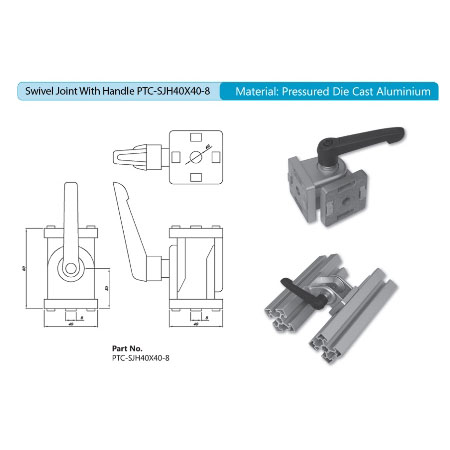 Swivel Joint with Handle PTC-SJH40X40-8