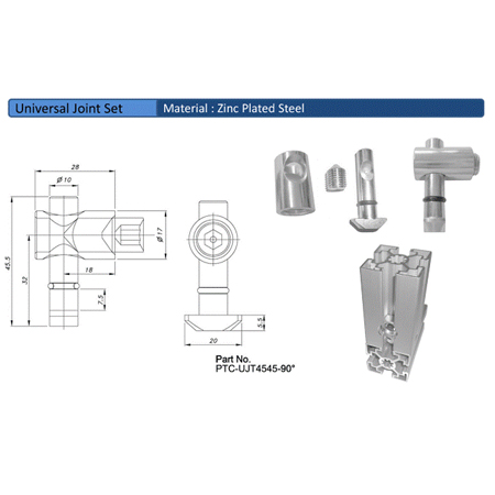 Universal Joint Set PTC-UJT4545-90°